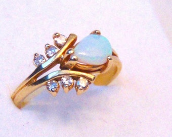 Vintage Opal and Diamond Ring in 14K Yellow Gold, Pear Cut Opal, October Birthstone
