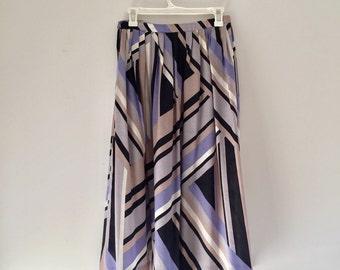 Vintage 80's Geometric Print Midi Skirt M 28