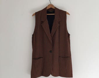 Vintage 90's Gingham Sleeveless Long Jacket L XL