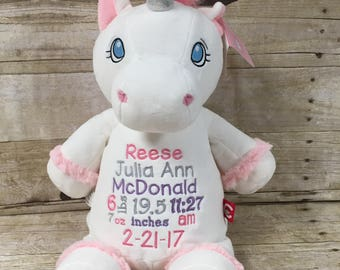 Birth Stat Stuffed Animal, Personalized Baby Gift, Personalized Unicorn, Embroidered Unicorn, Kids Birthday Gift