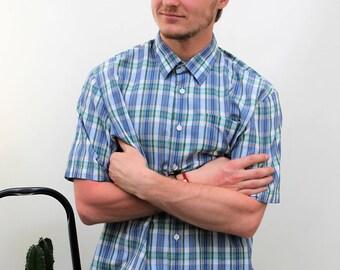 St Michael Blue Check Short Sleeve Shirt Size Large