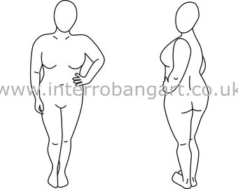 Plus Size Fashion Drawing Template