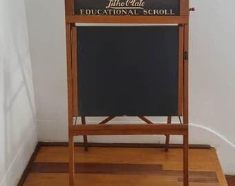 Vintage Children's School Black Board Folding Chalk Board Vintage Class Room Blackboard Elementary School House Blackboard 1950 Chalkboard