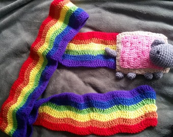 Poptart cat scarf - Nyan cat scarf - Rainbow scarf