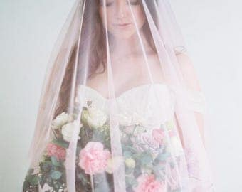 Rose-The pink double veil with blusher of soft english netting in fingertip, chapel and cathedral length