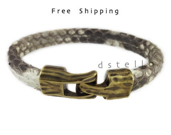 Men's genuine Python bracelet, Women's bracelet gift idea, Unisex snake skin Python cuff, Authentic - Antique old gold color hammered clasp