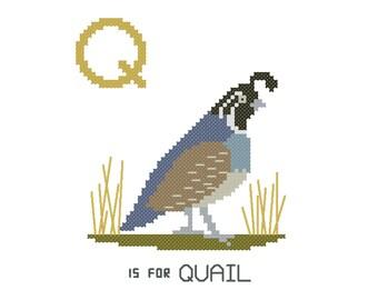 Q is for Quail | Modern cross stitch PATTERN | Alphabet Animalia
