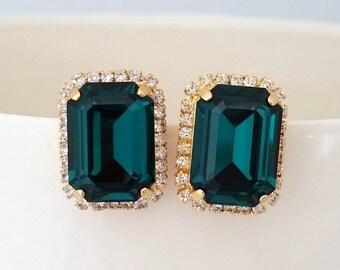 Emerald earrings,Emerad green stud earrings,Emerald bridesmaids earring,Swarovski ,rectangle earrings,Octagon earring,Emerald bridal earring
