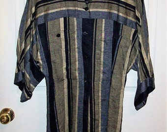 Vintage Ladies Multi color Striped Linen Tunic Top by Tahari Only 8 USD