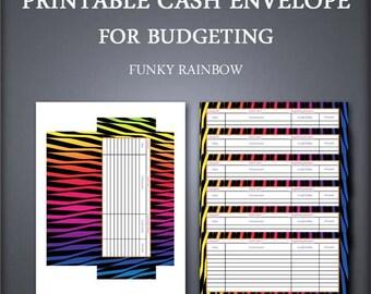 Printable Cash Envelope - Envelope Organizer - Cash Envelope Wallet - Funky Rainbow - Petty Cash Envelope - Budget Envelope