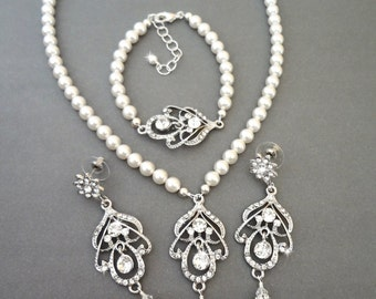 Pearl jewelry set, 3 piece set, Brides jewelry set, Swarovski pearls and crystals ~ Wedding jewelry set, Pearl jewelry set, Rachel
