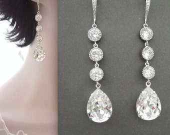 Swarovski crystal earrings ~ Elegant ~ CZ's ~ Sterling silver ear wires ~ Brides earrings ~ Sparkly, Wedding earrings ~ SHARP ~ SOPHIA