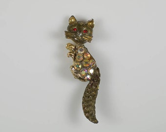 Vintage Cat Brooch Old Pin Rhinestones Cute Furry Tail Whiskers Kitty