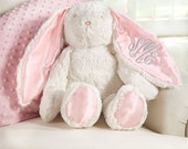 Personalized Pink Satin Floppy Eared Bunny / Monogrammed Plush Bunny / Personalized Easter Bunny Stuffed Animal / Monogrammed Girl Bunny