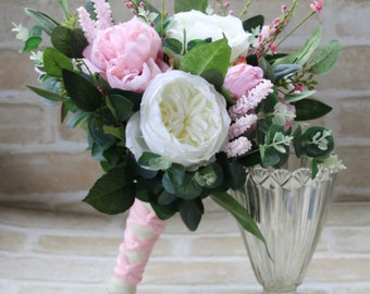 Bridal Bouquet, Wedding Bouquet, Artificial and Silk Wedding Flowers.  Peonies, roses, wildflowers lush foliage.  Pink and white bouquet