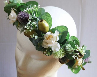 Silk Flower crown. Bride, bridesmaid, flowergirl hair crown. Thistle, roses, gumnuts, wildflowers, eucalyptus. Rustic Wedding hair flowers