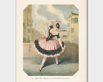 """Ballerina Illustration Art (Vintage Spanish Art, Castanet Ballet Dance) --- """"La Boleras de Cadiz"""""""