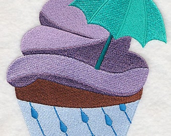 MONTHLY // April Showers Cupcake Embroidered on Kona Cotton Quilt Block // Plain Weave Cotton Dish Towel // Also Available on Other Items