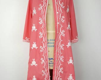Caro of Honolulu Calypso Coral Pink Duster Coat Cover Up - M/L