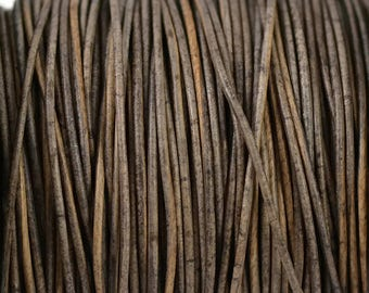 1mm Natural Grey Brown Leather Round Cord - Distressed Matte Finish