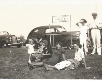 "Vintage Photo ""Telephone Booths"" Roadside Stop - Vintage Road Sign - Old Cars - Found Vernacular Snapshot"