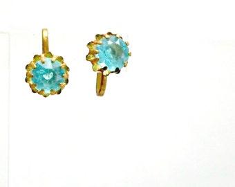 Screw back vintage earrings simulated blue topaz goldtone setting 1950s