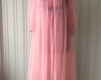 1960s Pink Chiffon Peignoir Set Rosette applique sheer Nightgown and Robe set single layer over double