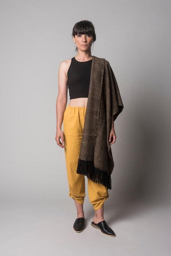 Large wool scarf blanket wrap, Golden fall poncho scarf, Black Camel Handwoven wool shawl