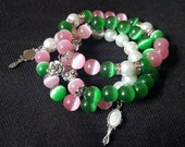 Pink and Green Beaded Bracelet Set with Rose, Mirror and Frog Charms, Sorority Inspired Stack