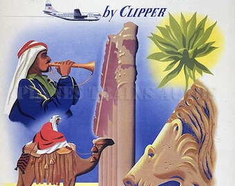 Vintage PanAm Airline Poster 1950. PanAm Beirut Lebanon by Clipper. Instant Download - Printable Poster