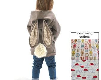AUTUMN 2017 PRE ORDER childrens rabbit coat duffle bunny animal grey jacket luxury baby kid coat toddler woodland spring fancy dress costume