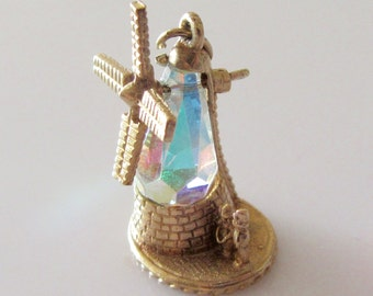 9ct Gold Windmill and Couple Gem Set Moving Charm