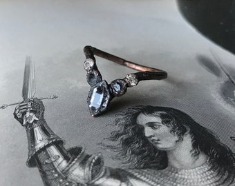 Black Herkimer Diamond and Crystals Finger Crown