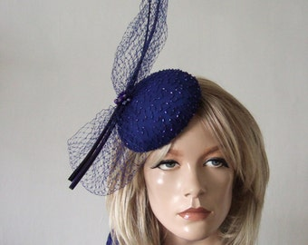 "Ultramarine Blue Beaded Silk Veiled and Quills Button Cocktail Hat Headpiece Fascinator ""Niccy"" Christmas New Years Eve Party Ball Hatinator"