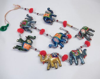 vintage elephant wallhanging/mobile, travel souvenir from India, elephant decor, beaded chain, home decor