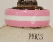 STRIPED BANGLE - pastel pink an white striped bangle -  lucite pastel pink and white striped bangle - 70s vintage lucite striped bangle