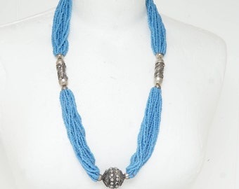LONG TRIBAL NECKLACE - Beautiful old tribal necklace - cornflower blue seed beads with handmade statement beads in this long tribal necklace