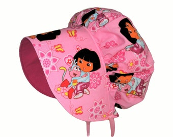 Baby Bonnet, Dora Hat, Sun Bonnet, Girls Sun Hat In Pink Or Blue, Toddler Bonnet, Summer Hat, Cotton Hat, Dora Birthday Gift,  Made To Order