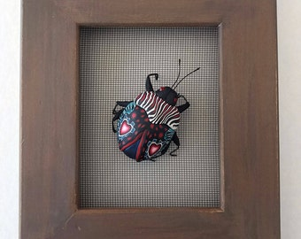 Love Bug Beetle Insect Sculpture Frame Screen Wall Art 391