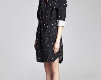 40% SALE.Organic cotton poplin shirt dress