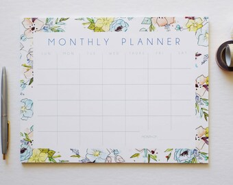 Blue Monthly Calendar, Desk Pad, Desk Calendar, Agenda