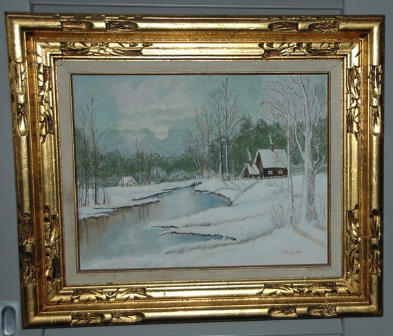 Reduced Price: Vintage WINTER LANDSCAPE IMPRESSIONISM Oil on Board Fine Art Signed L Roberts 1976 Original Frame Exc Condition