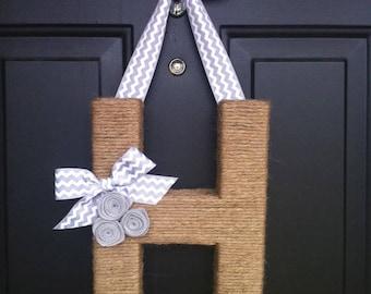 Chevron Monogram Wreath.  Farmhouse Style Jute Letter.
