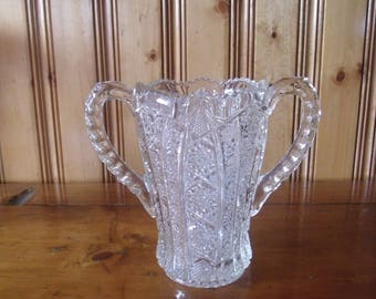 Vintage Cut Glass Vase Saw Tooth Rim with Handles