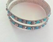 Vintage Mexico 925 Silver Turquoise Bangle Bracelets ** Two available- Listing is for Quantity of One
