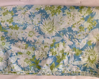 Vintage 1960s 70s Wondercale by Springmaid Blue Green White Floral Full Double Flat Sheet