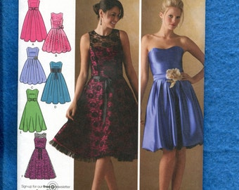 Simplicity 4070 Flirty Flared Party Dresses  Size 12 to 20 UNCUT