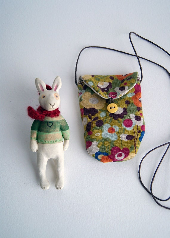 lucky rabbit in mini button bag - ceramic bunny - cloth pouch - green floral