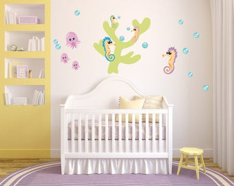 Seahorse Decal, Under the Sea Fabric Decal. Nursery Wall Decal, WD13