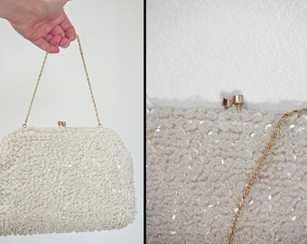 Beaded AB Purse 1960s Magid Iridescent White Snow Rainbow Sparkle + Gold Evening